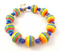 Vibrant Retro Style Striped Bead Adjustable Bracelet.